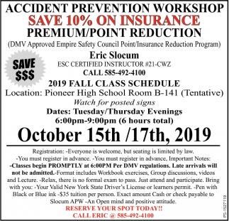 Eric Slocum, Accident Prevention Workshop, Arcade, NY