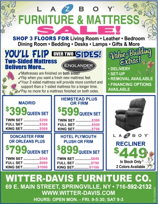 Furniture & Mattress Sale!