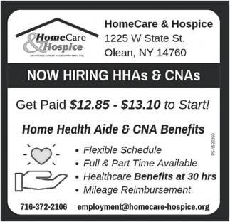 Now Hiring HHAs & CNAs