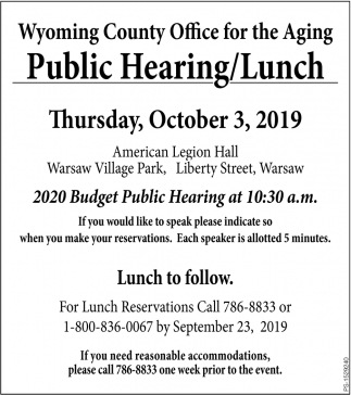 Public Hearing/Lunch
