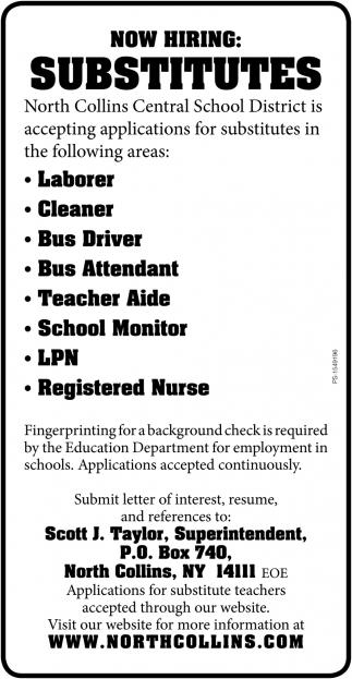Now Hiring Substitutes