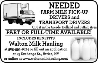 Needed Farm Milk Pick-Up