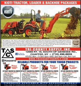 Kioti Tractor, Loader & Backhoe Packages